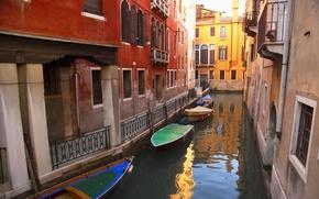 Картинка город, река, лодки