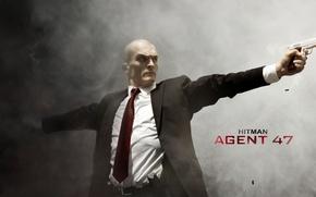 Картинка cinema, Hitman, fire, guns, flame, gun, weapon, movie, home, killer, agent, film, suit, Agent 47, …