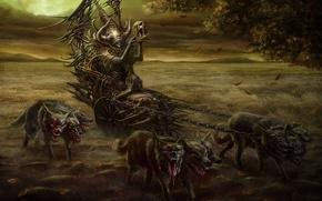 Картинка фантастика, ситуация, арт, повозка, цербер, piotr ruszkowski