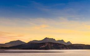 Картинка море, закат, холмы, Горы, Шотландия