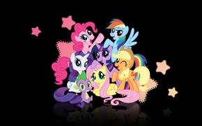 Обои applejack, spike, рэрити, my little pony, твайлайт, пинки пай, rainbow dash, эпллджек, мой маленький пони, ...
