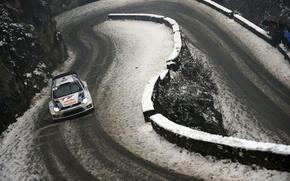 Обои Подъем, Volkswagen, WRC, Зима, Polo, Red Bull, Снег, Ралли