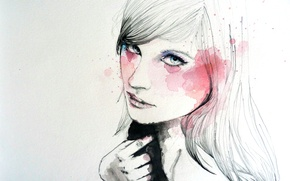 арт, рисунок, девушка, краски, лицо, рука обои