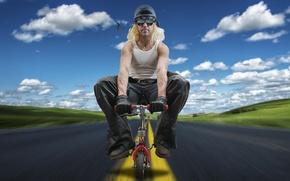 Картинка дорога, велосипед, мужчина