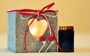 Картинка свет, красный, фон, огонь, праздник, подарок, widescreen, обои, сердце, свеча, пленка, wallpaper, форма, широкоформатные, background, ...
