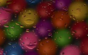 Картинка стекло, вода, капли, макро, самоцветы
