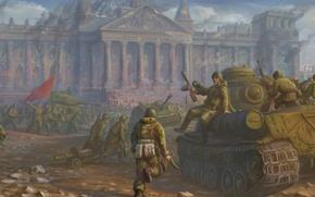 Картинка война, победа, армия, арт, ссср, солдаты, битва, танки, вторая мировая война, великая отечественная война, Berlin, …