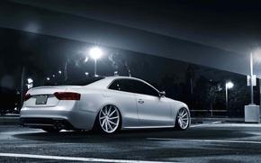 Картинка Audi, white, stance, vossen wheels, rearside