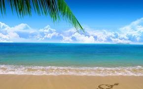 Обои море, пляж, песок