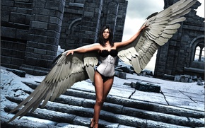Картинка взгляд, девушка, рендеринг, волосы, крылья, ангел, лестница