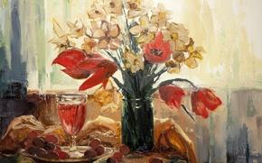 Картинка арт, hangmoon, Tulips in the bank
