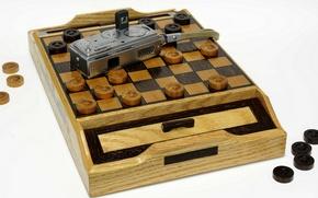 Картинка дерево, шахматная доска, шашки, Automatic, Mamiya-16, миниатюрный фотоаппарат, ручная работа