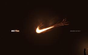 Обои огонь, логотип, nike