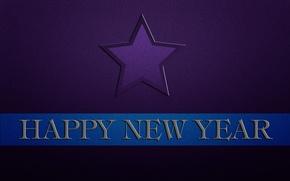 Картинка синий, надпись, полоса, звезда, новый год, happy new year, фиолетовый фон