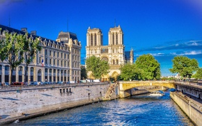Картинка мост, река, Франция, Париж, здания, Paris, river, bridge, France