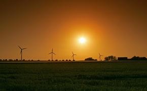 Обои солнце, поле, ветряк