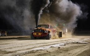 Картинка песок, дым, Dodge, додж, трек