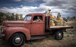 Картинка Ford, Форд, грузовик, тыквы, Halloween, Хэллоуин, скелеты, Ghost riders