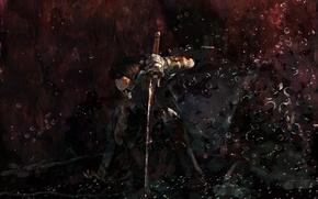 Картинка девушка, оружие, тьма, сила, катана, защита, арт, парень, Dark power