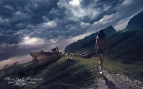 Картинка лодка, Девушка, собака, баркас