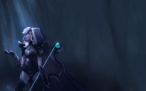 Картинка девушка, свет, лук, лучница, арт, Traxex, Dota 2, Drow Ranger, Drow Frost, liea