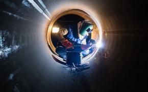 Картинка laborer, worker, pipe welder, electric arc welding helmet