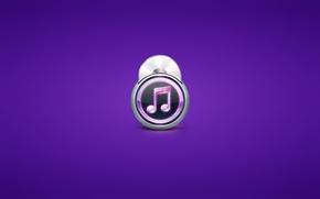 Обои минимализм, плеер, диск, нота, фиолетовый фон
