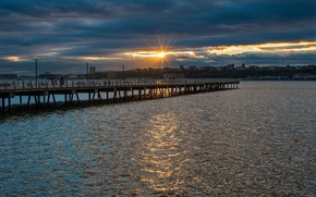 Картинка солнце, закат, река, Природа, nature, sunset, riverside