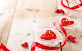 Картинка свечи, сердечки, день всех влюбленных