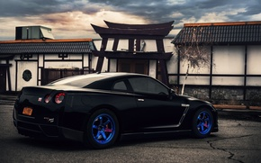 Картинка Зад, Nissan, GT-R, R35, Blue Wheels