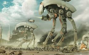 Обои атака, война, дроиды