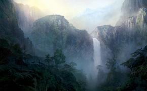 Картинка пейзаж, горы, рассвет, водопад, олень, утро, арт, нарисованный пейзаж