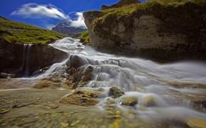 Картинка горы, река, камни, скалы, Италия, Пьемонт, ркчей