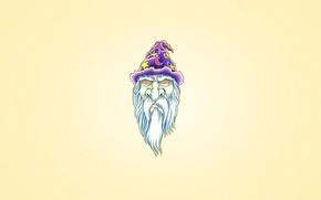 Обои фиолетовый, звезда, минимализм, месяц, голова, колпак, волшебник, Мерлин, борода белая, гипноз глаза
