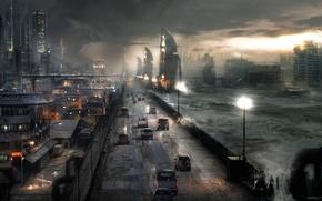 Картинка дорога, машины, ночь, город, апокалипсис, буря