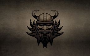Картинка темный фон, голова, рога, шлем, борода, викинг, VIKING, галл