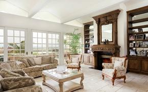 Картинка дизайн, стол, окна, кресло, подушки, зеркало, камин, диваны, гостиная, полки