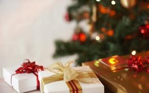 Картинка фон, праздник, елка, подарки, чудеса