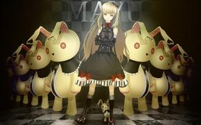 Картинка игрушки, платье, кролики, vocaloid, бант, длинные волосы, mayu