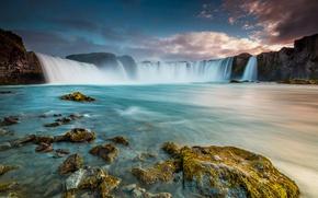 Картинка небо, пейзаж, горы, река, камни, водопад, Исландия