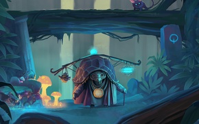 Картинка лес, грибы, черепаха, арт, зверёк, карточная игра, Faeria