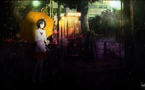 Картинка машина, девушка, зонтик, дождь, улица, Bleach, Блич, Kuchiki Rukia, Рукия Кучики