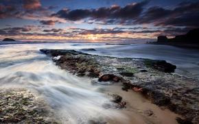 Картинка море, закат, вечер, New Zealand, Auckland, красивые обои, Sunset at Maori Bay