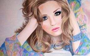 Картинка глаза, девушка, лицо, волосы, руки, макияж, блондинка, губы, лежит, браслет, живопись, кудри
