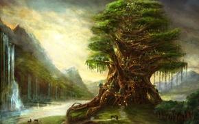 Картинка огни, рисунок, водопад, Дерево