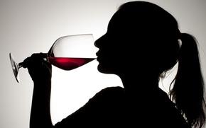 Картинка glass, woman, silhouette, red wine