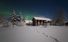 Картинка зима, звезды, снег, ночь, дома, северное сияние, посёлок