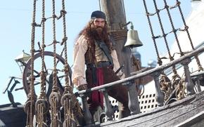Картинка пират, Губка Боб, судно, штурвал, Antonio Banderas, Антонио Бандерас, колокол, The SpongeBob Movie: Sponge Out …