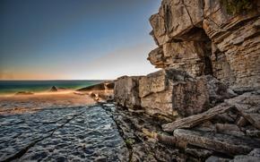 Картинка море, небо, скала, камни, берег