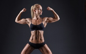 Обои female, bodybuilder, healthy living, fitness, toned body, workout, pose